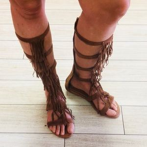 Brown fringe gladiator sandals worn once. 7